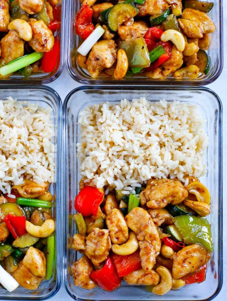 Cashew Chicken in Meal Prep containers