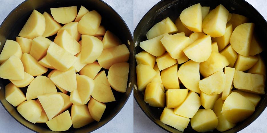 cubed potatoes in a pot
