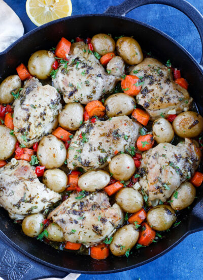 overhead shot of Baked chicken and potatoes