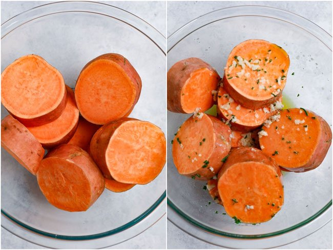 Sweet Potatoes in a glass bowl