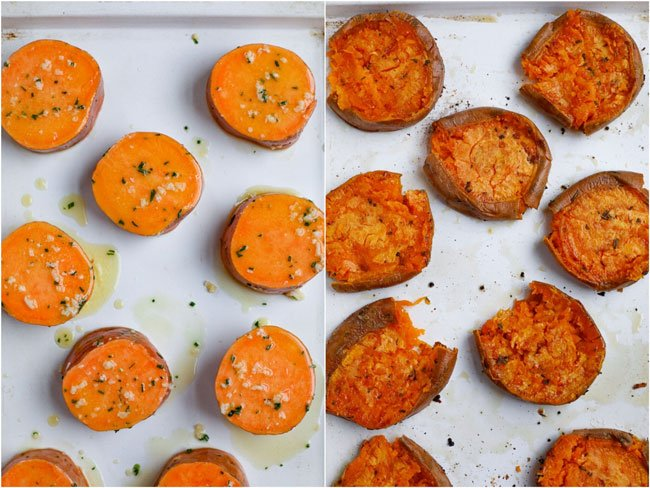 side by side shot of before and after baked sweet potatoes.