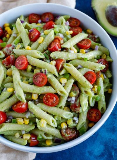 Creamy avocado pasta salad variations