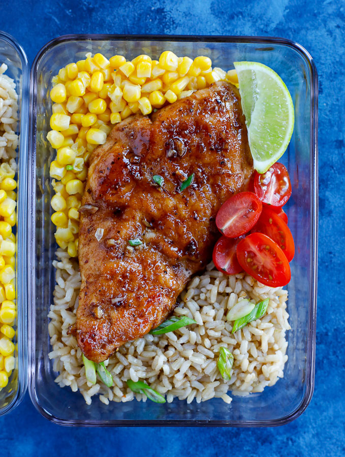 Easy Sticky Chicken Served in meal prep containers