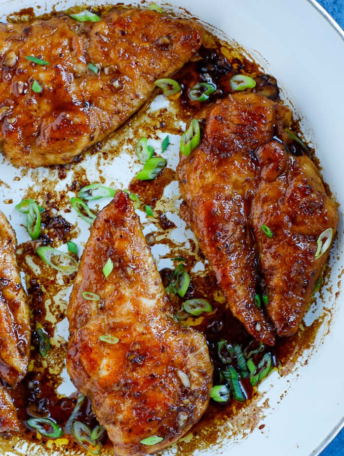 Overhead shot of Sticky Chicken in a skillet
