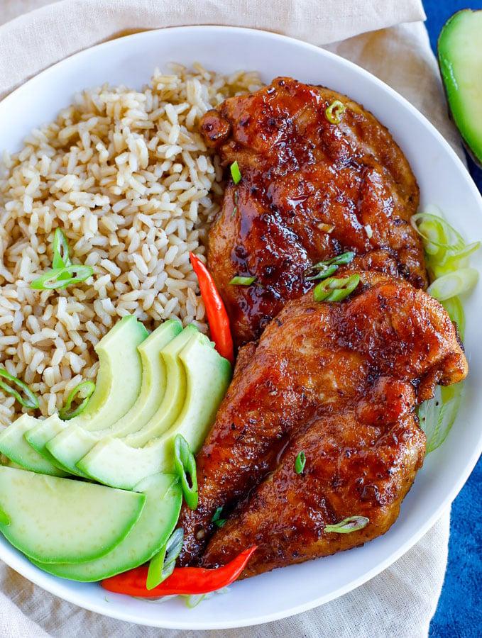 easy sticky chicken recipe in a bowl