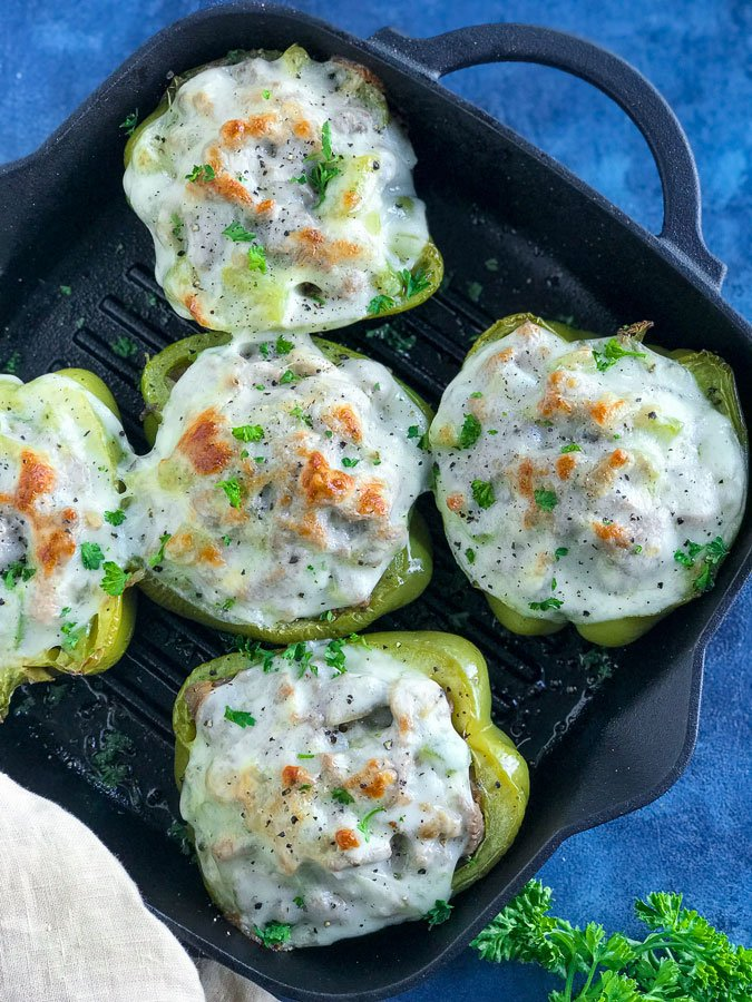 Philly Cheesesteak Stuffed Peppers in a pan