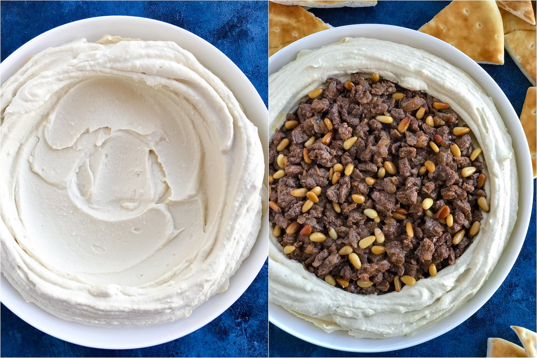 Two side by side photos of Lebanese Hummus in white bowls. The left photo shows plain hummus in the bowl and the right photo shows the hummus topped with spiced meat.