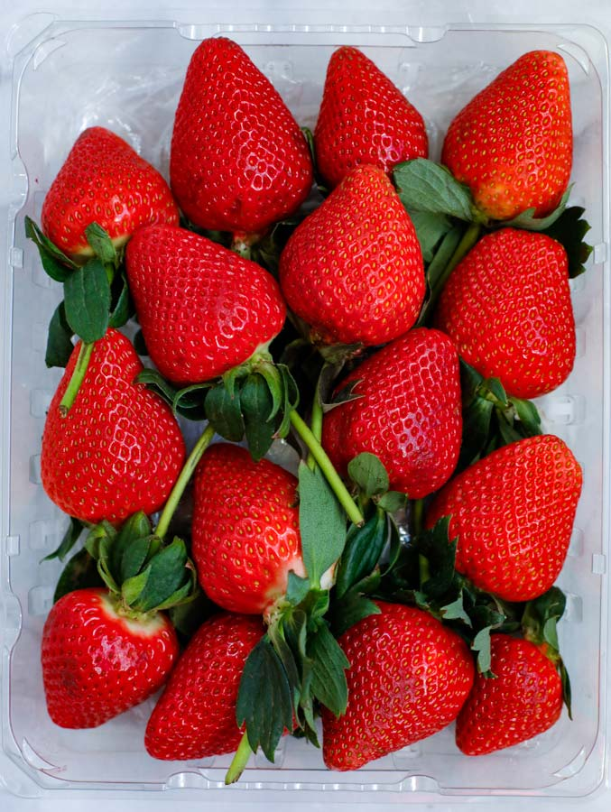 Delicious Strawberries in a container.