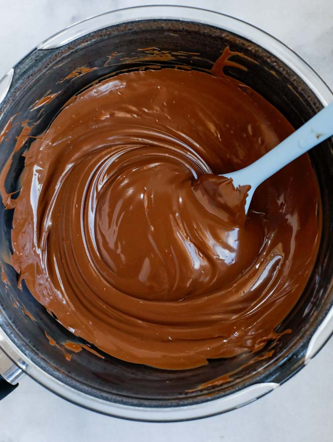Melted chocolate in a pot.