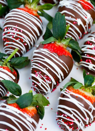 rows of Easy Chocolate Covered Strawberries.