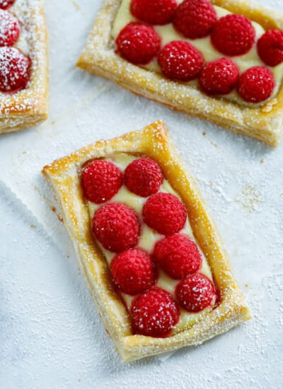 Raspberry Puff Pastry Tarts dessert
