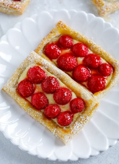 Raspberry Puff Pastry Tarts on a white dish