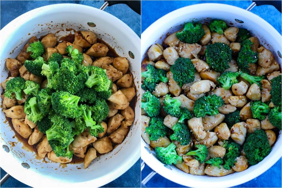 A side by side picture of the steps to make spicy chicken teriyaki.