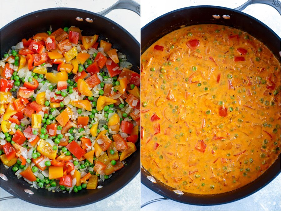 A creamy chipotle pasta sauce in the skillet on the right and the chopped vegetable added to the skillet on the left.