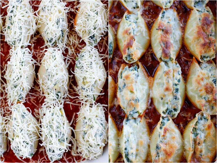 Stuffed shells before they bake in the oven on the left and stuffed shells after they bake in the oven on the right.