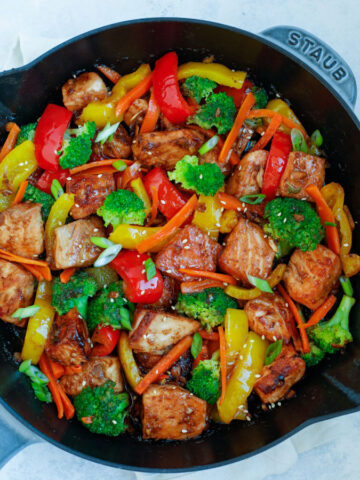 Teriyaki Salmon Stir Fry in a large nonstick skillet.