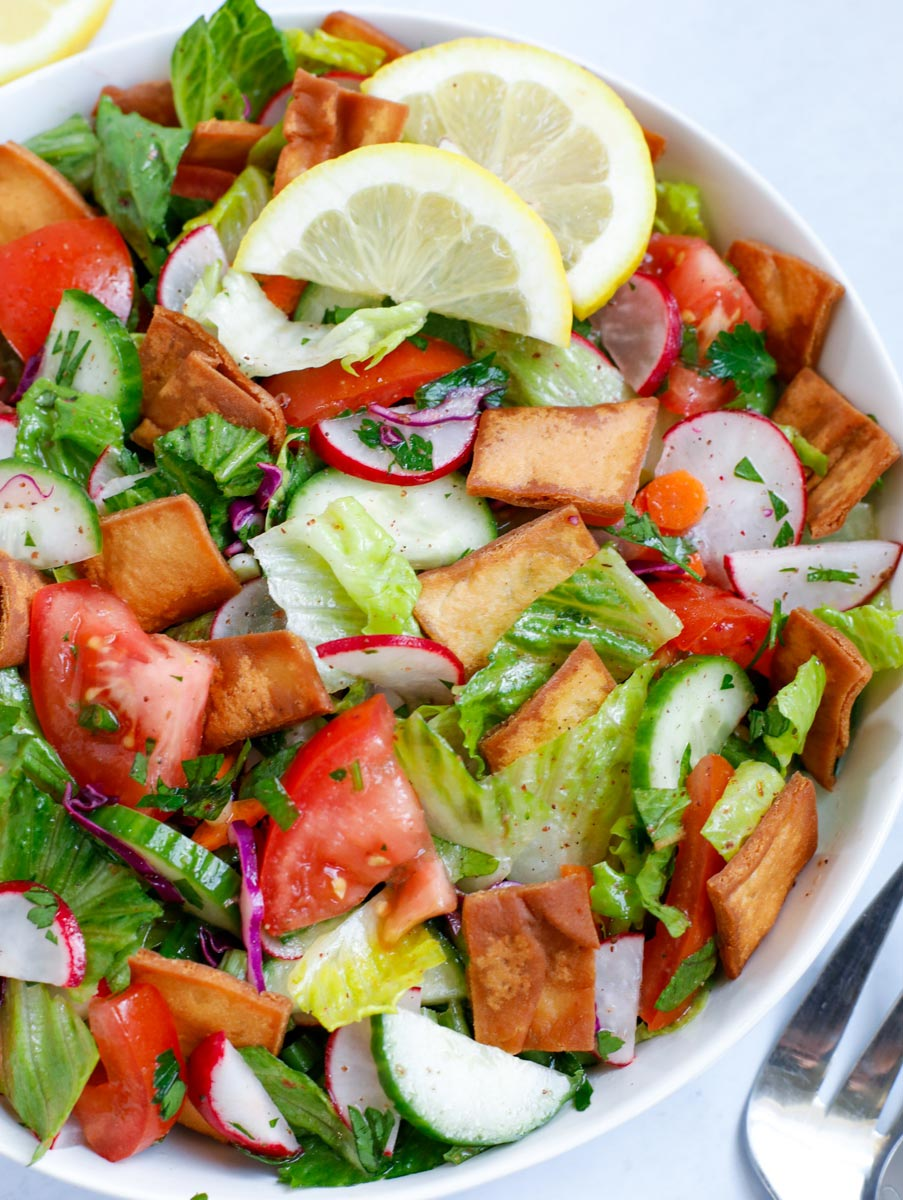 Close up of the made fattoush salad in a bowl