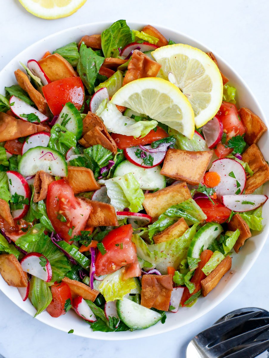 Fattoush salad served in a white bowl
