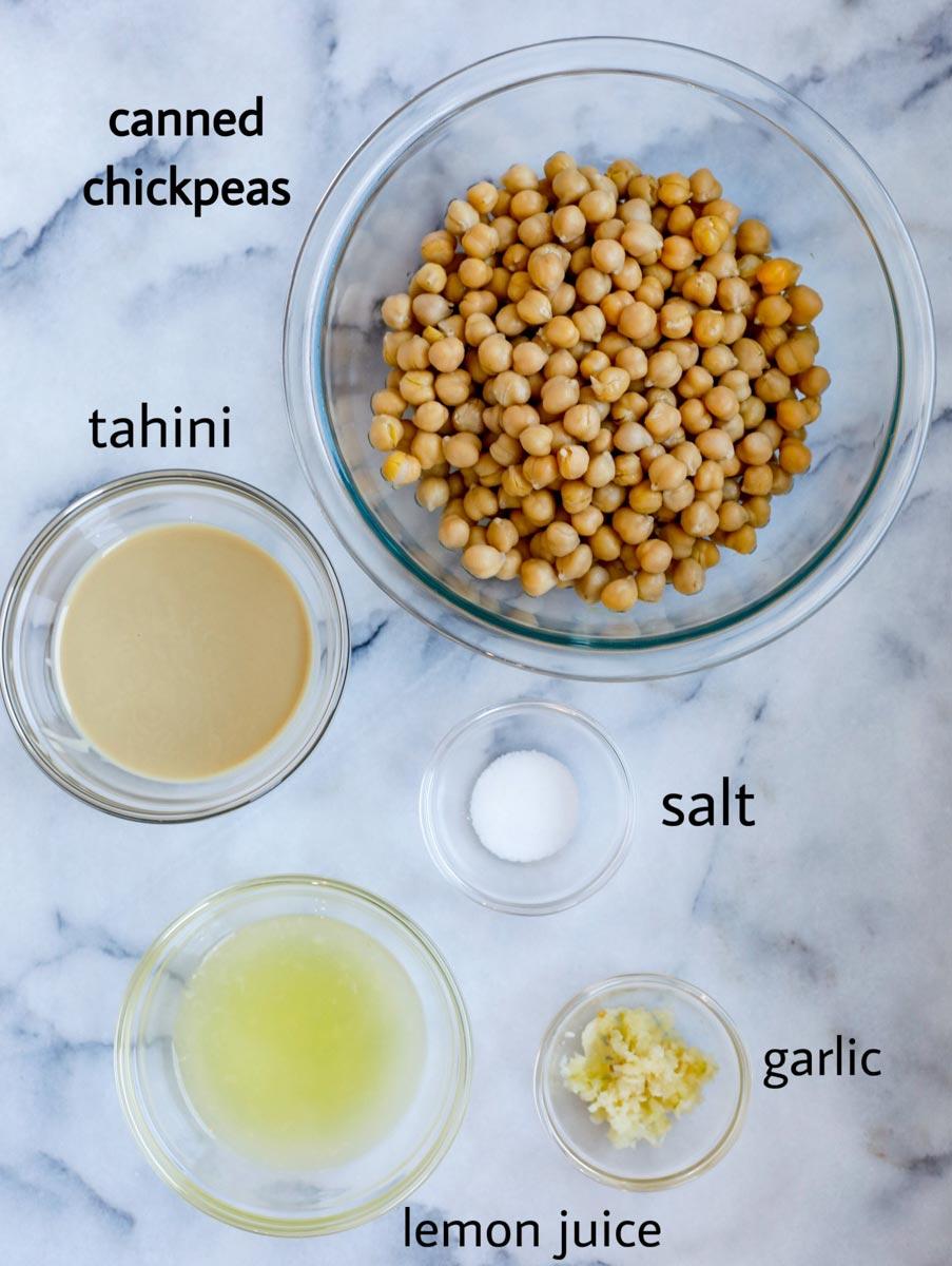 Ingredients to make the Lebanese hummus