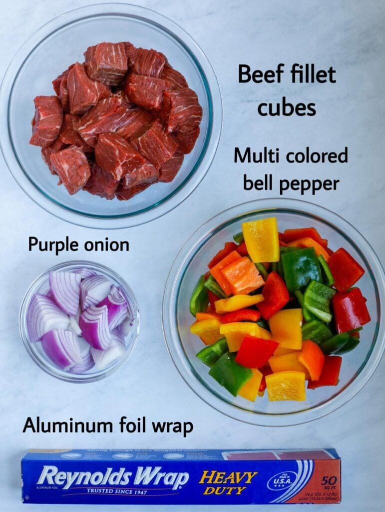 Ingredients for the beef kebobs