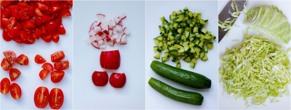 The vegetables diced and sliced