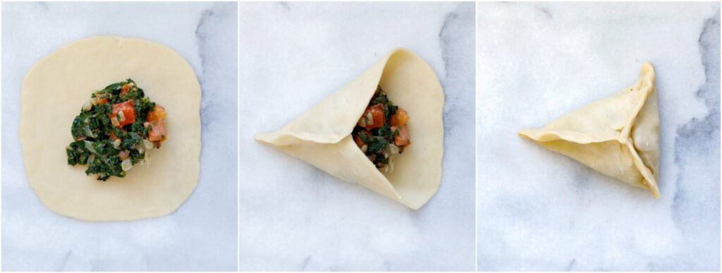 demonstration on how to close the spinach pie into a triangle shape