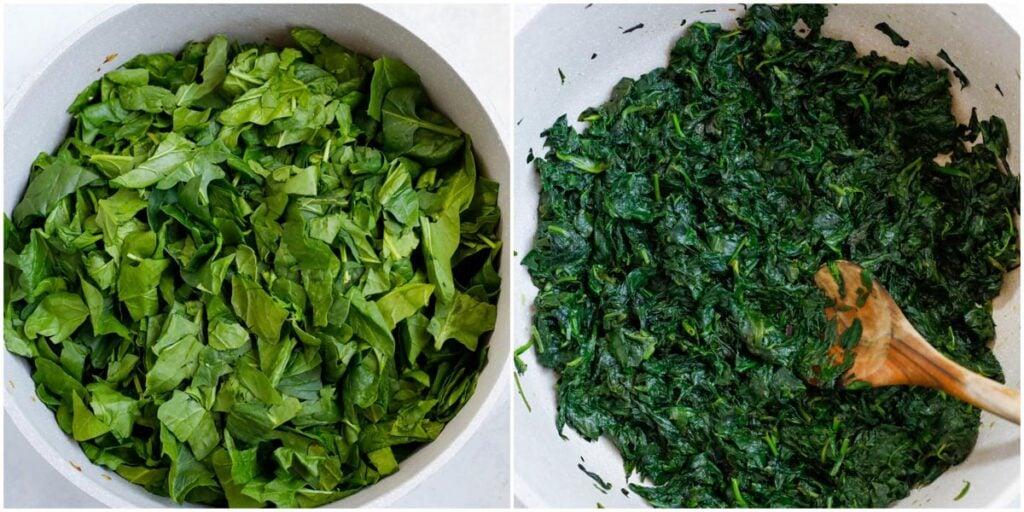 fresh spinach saute