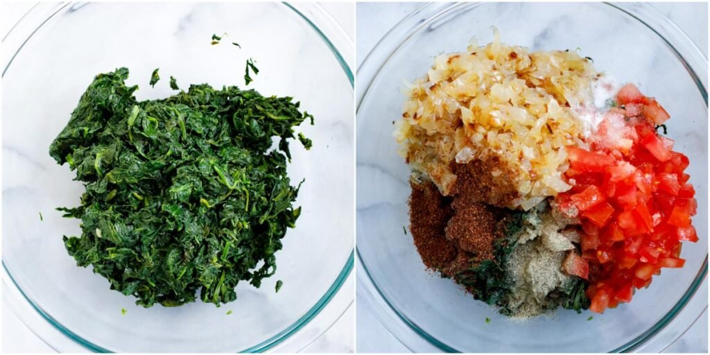 spinach pie filling ingredients in a bowl