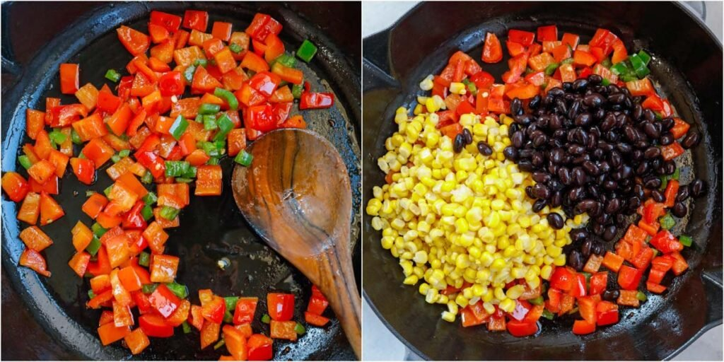 veggies for the mexican shrimp being sauteed. Corn, bell peppers and black beans