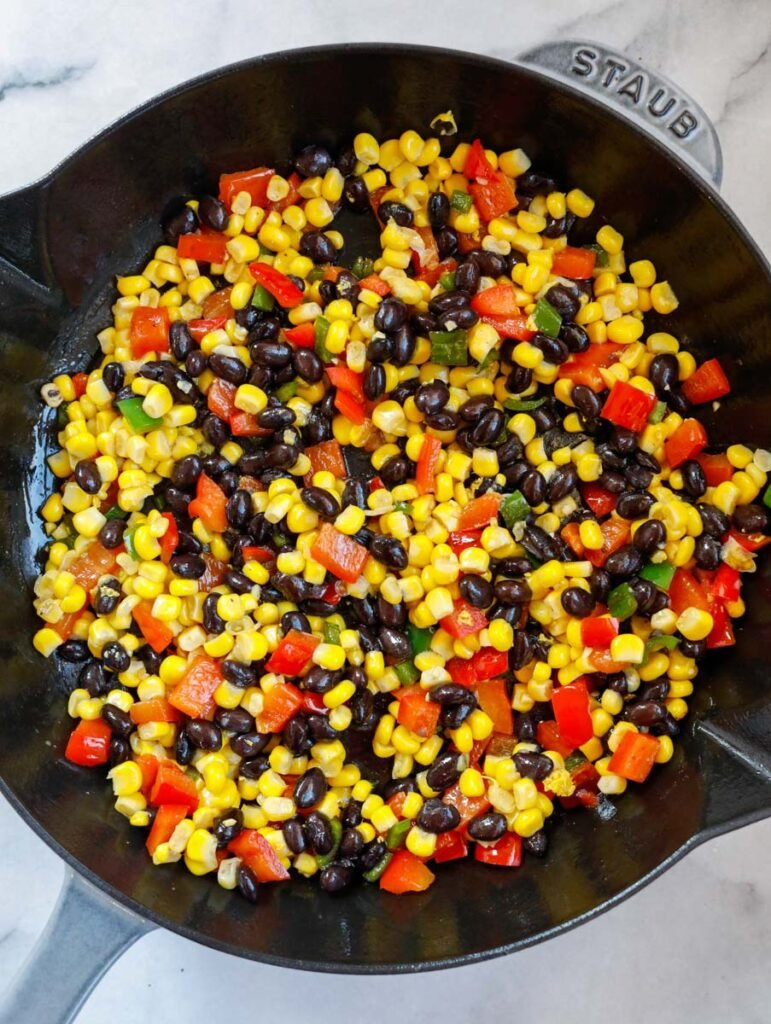sauteed veggies for the mexican shrimp. corn beans and bell peppers