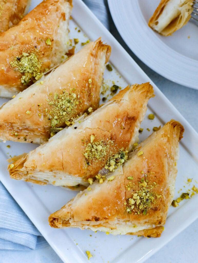 lebanese dessert shaabiyat, phyllo dough stuffed with ashta cream