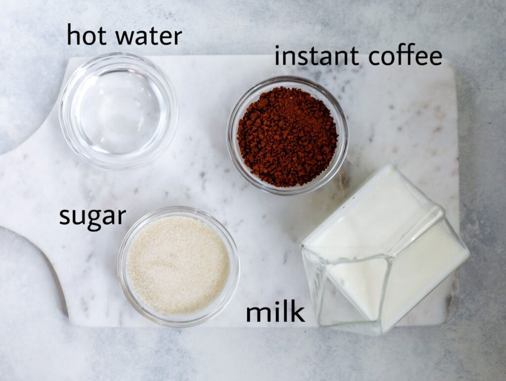 whipped coffee ingredients, sugar, instant coffee, hot water, milk
