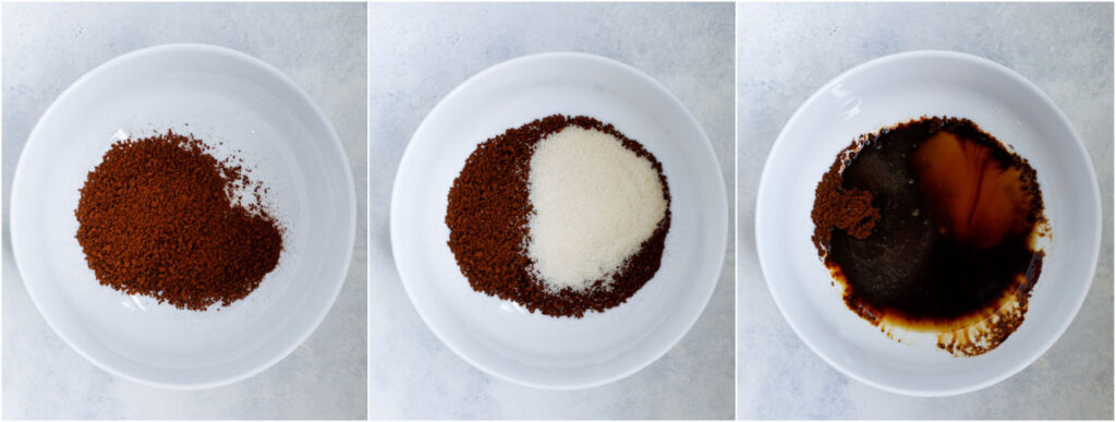 whipped coffee ingredients in a whie bowl