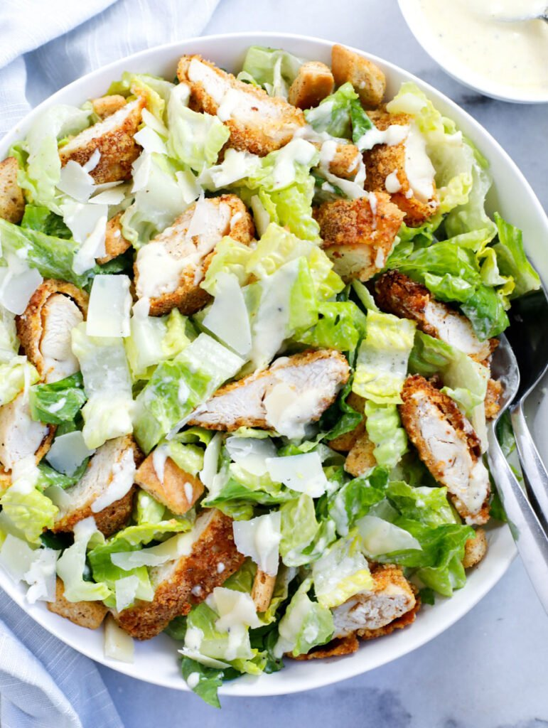 crispy chicken salad in a bowl