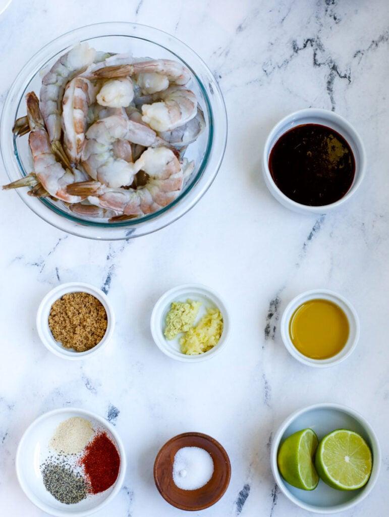 ingredient s for grilled shrimp skewers