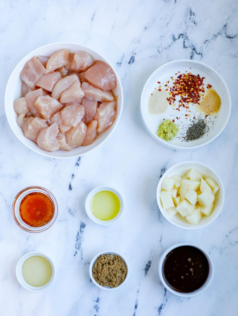 ingredients for Korean BBQ Chicken Skewers
