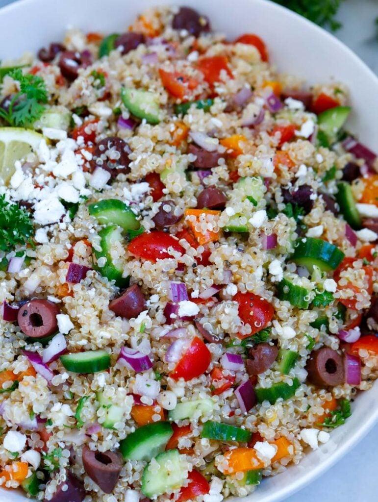 close up shot of the mediterranean quinoa salad