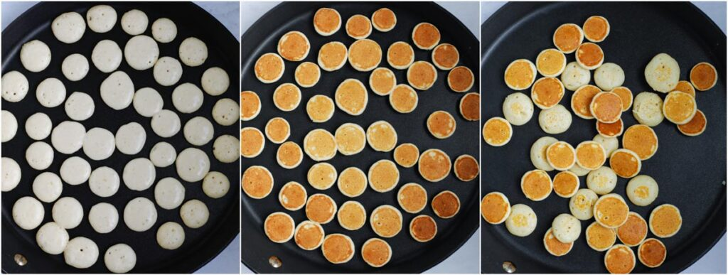 pancake cereal dots on a pan being cooked