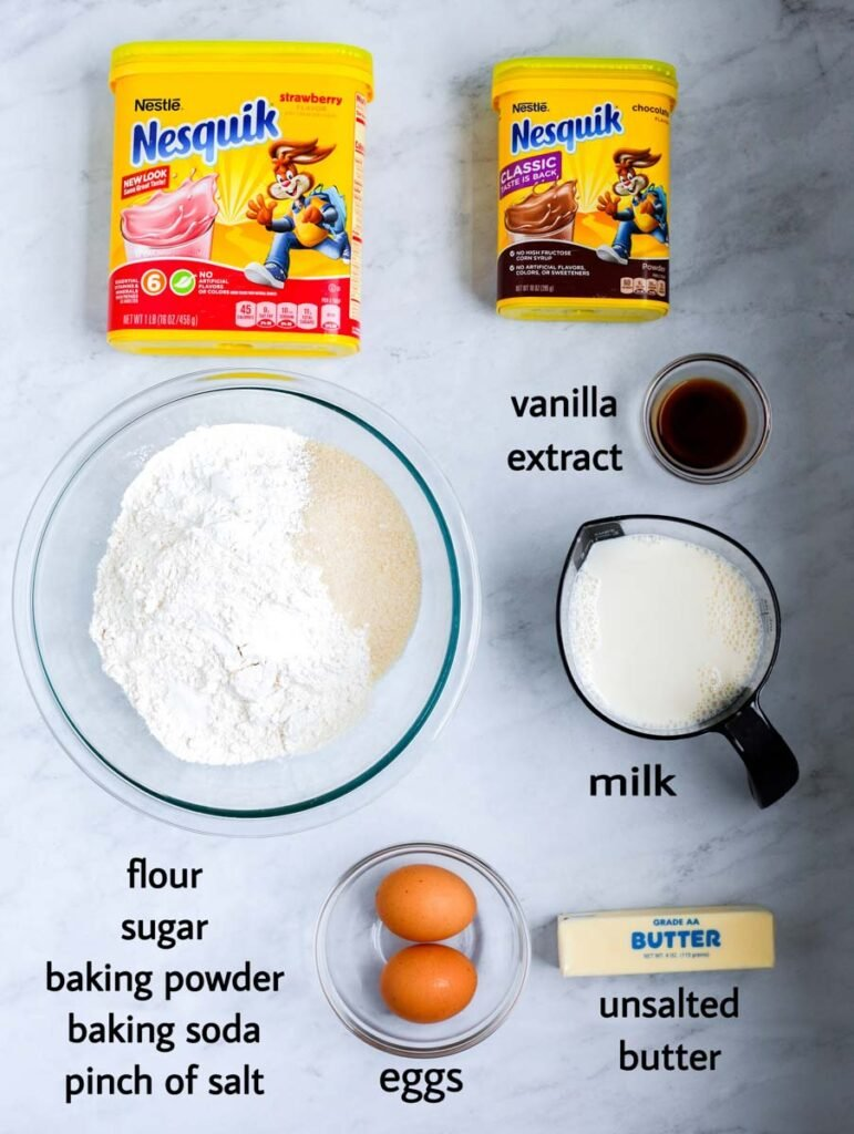 list of ingredients for the pancake cereal. milk, butter, pancake mix, eggs, vanilla extract and flavored powdered milk