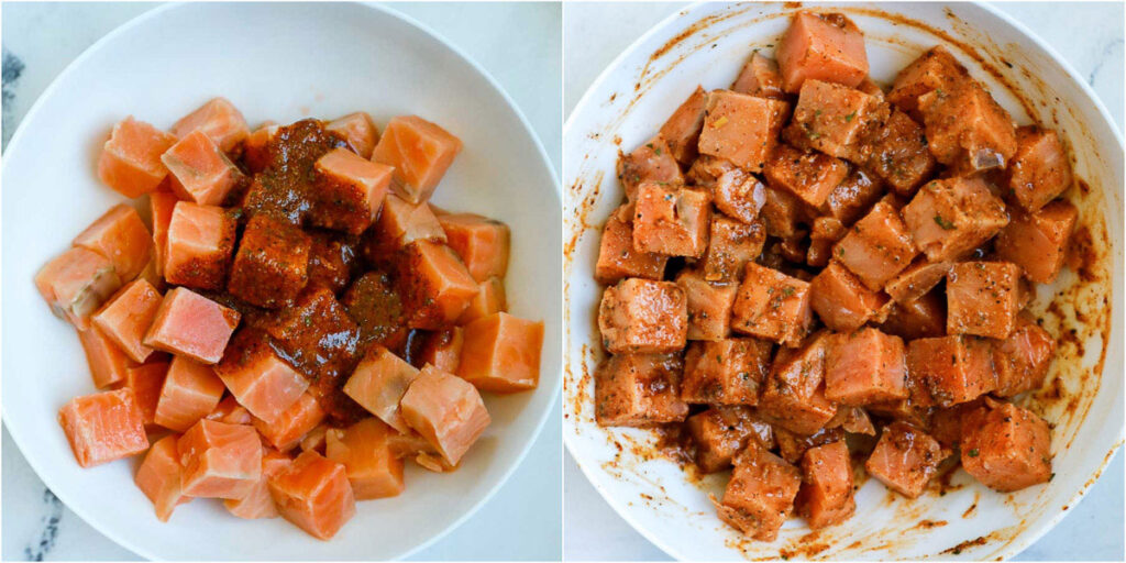 salmon cubes marinated in a bowl
