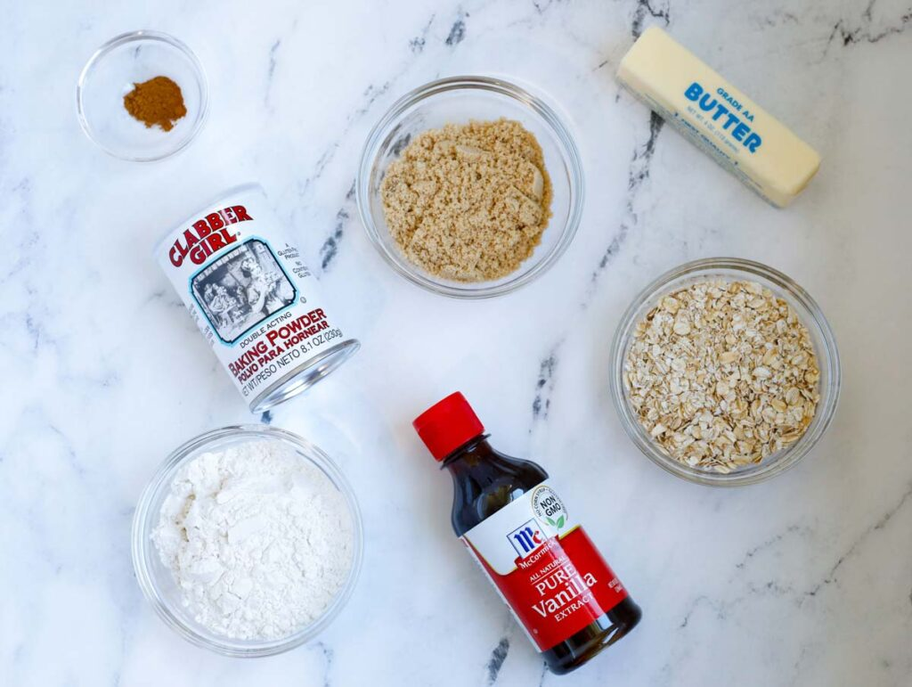 crisp ingredients: rolled oats, flour, butter, brown sugar, baking powder, vanilla extract and cinnamon