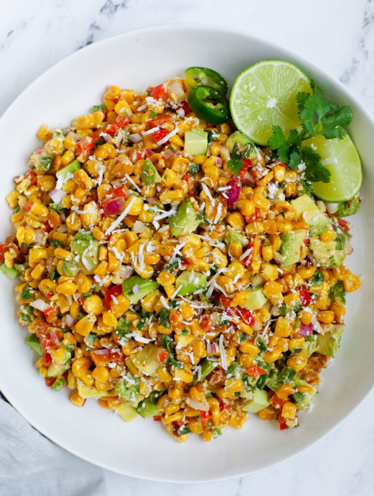 Top down view of Mexican street corn