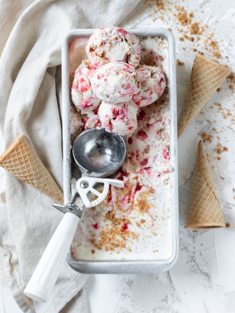 scoops of Strawberry Cheesecake Ice Cream