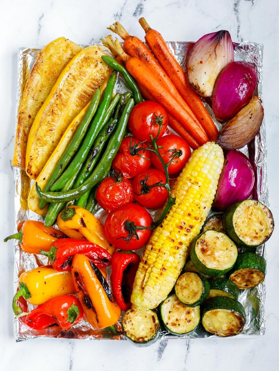 top view of assorted grilled vegetables