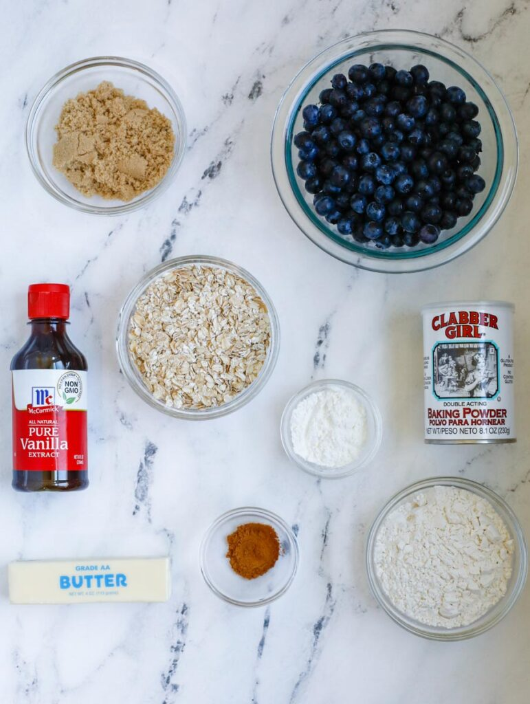 ingredients for the Blueberry Crisp Recipe