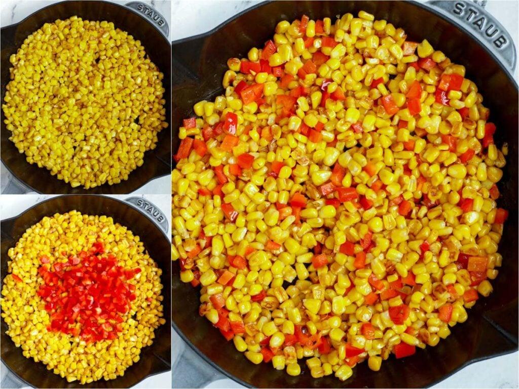 cooking veggies for Street Corn Salad
