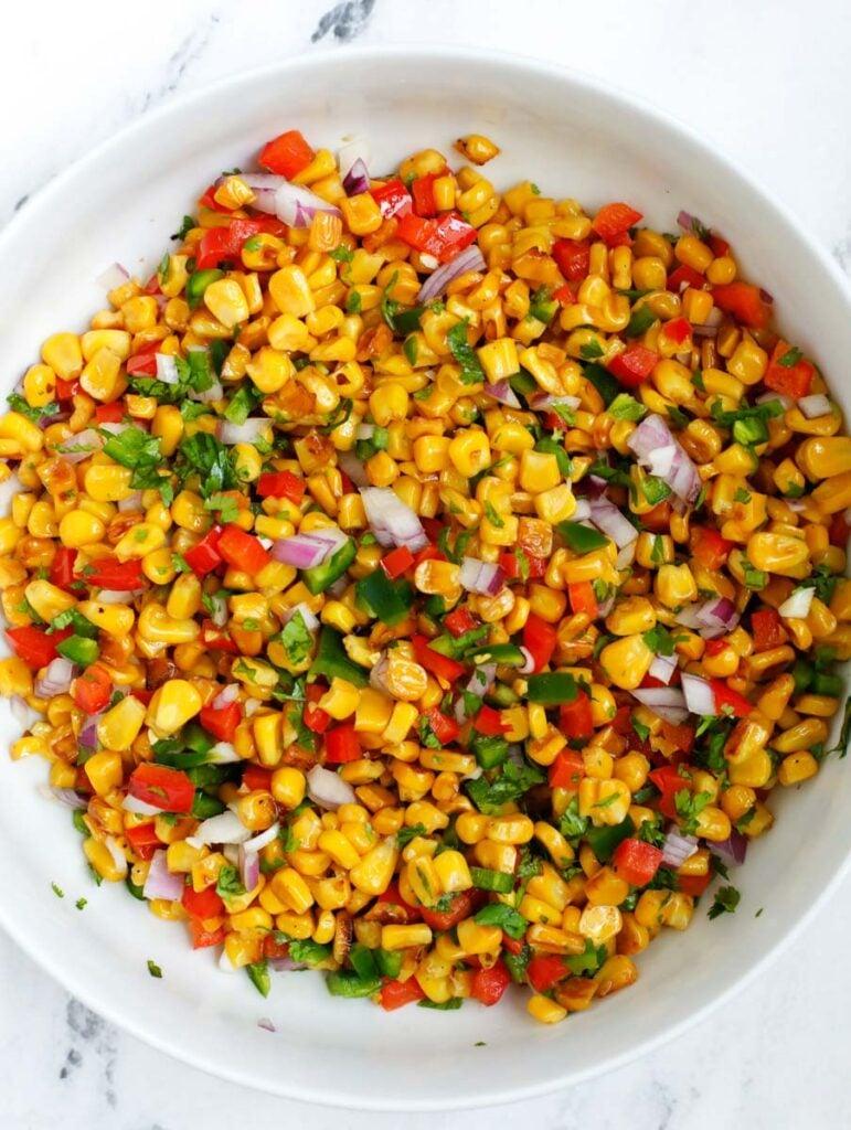 overhead shot of Street Corn Salad