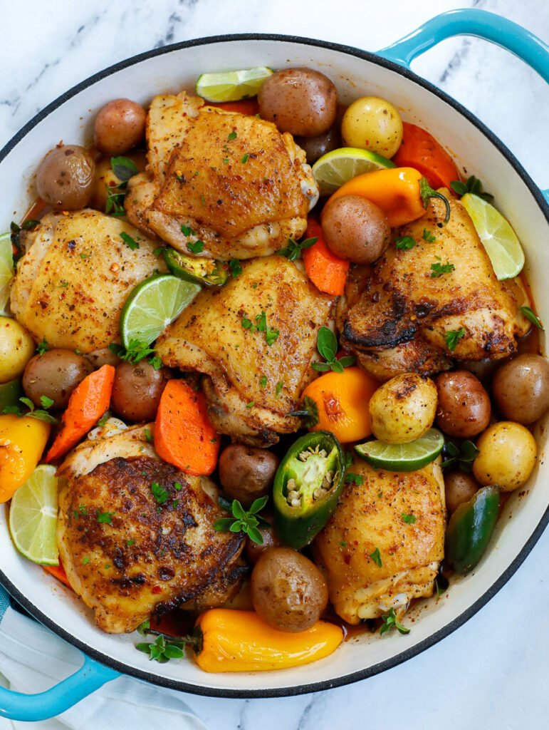 overhead shot of Chicken and Potato Bake in a pot
