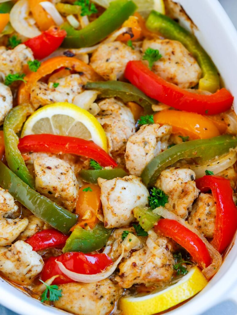 close up of Chicken Fajita Bake