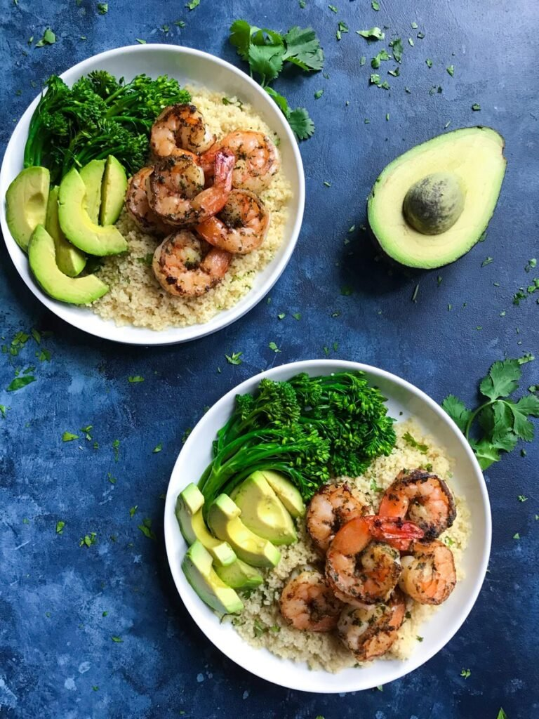 top down view showing two bowls of cilantro lime shrimp
